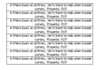 Bible Memory Verse - Proverbs 17:17 Activities and Poster