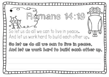 Bible Memory Verse - Romans 14:19 Activities and Poster