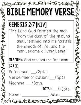 Bible Memory Verses [for the entire school year!] NIV Print edition
