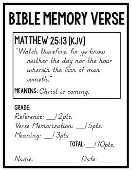 Bible Memory Verses [for the entire school year!] KJV D'nealian edition