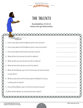 FREEBIE: Parable of the Talents workbook