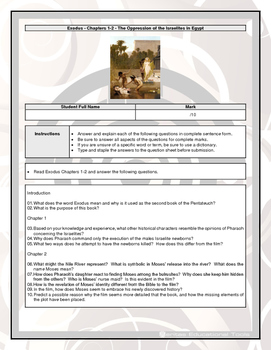 Bible Questions - Exodus - Chapters 1-2 - The Oppression o