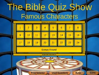 Bible Quiz Show Famous Characters Hard