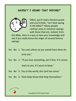 Bible Quotations Quiz, Is That In the Bible? Haven't I Heard That Before?