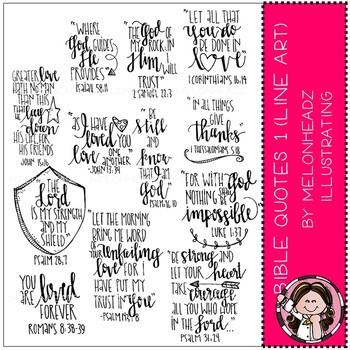 Bible Quotes clip art - LINE ART - by Melonheadz