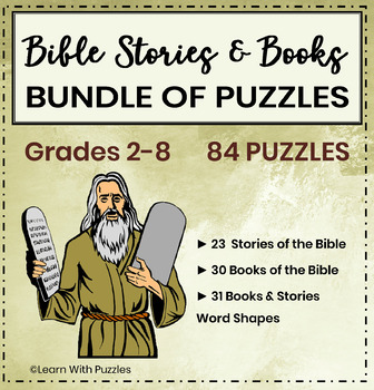 Bible Stories & Books of the Bible Puzzle Bundle - 84 UNIQUE Bible Puzzles
