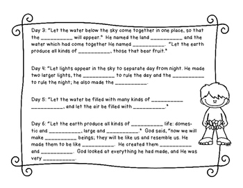 Bible Stories Fill in the Blank worksheets