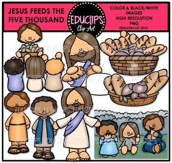 Bible Stories - Jesus Feeds The Five Thousand Clip Art Bun