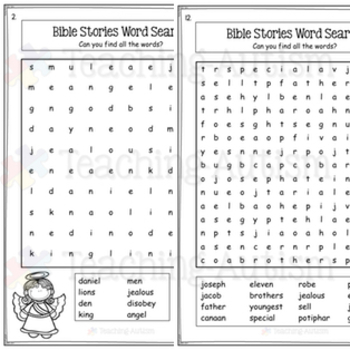 Bible Stories Word Search Activities