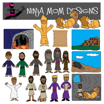 Bible Story Clip Art- Daniel, Shadrach, Meshach, Abednego- Color and Black Line