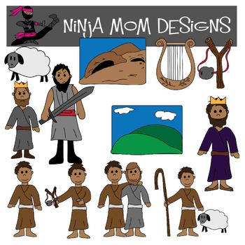 Bible Story Clip Art- David in Color and Black Line