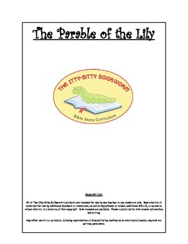 Bible Story Mini-Unit:  The Parable of the Lily