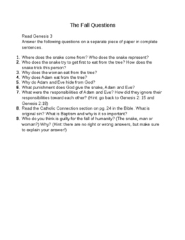 Bible Story Questions: Adam and Eve