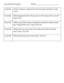 Bible Story Scavenger Hunt - Jesus Heals the Lepers
