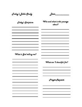 Bible Study Journal Sheet