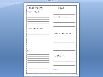 Bible Study Journal Sheet-Font