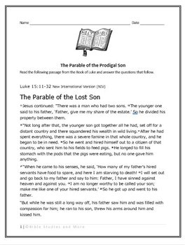 Bible Study Lesson for Middle and High School Students - The Prodigal Son