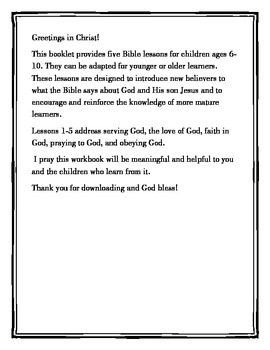 Bible Study Lessons-Homeschool, Vacation Bible School, Sunday School