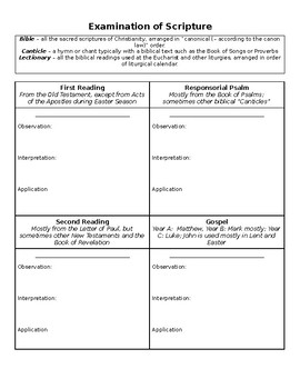 Bible Study Sheet