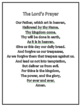graphic regarding The Lord's Prayer Kjv Printable called Lords Prayer Coloring Worksheets Education Products TpT