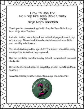 Bible Study for PreTeens- No Prep- Fruit of the Spirit- Love