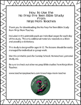 Bible Study for PreTeens- No Prep- Fruit of the Spirit- Peace