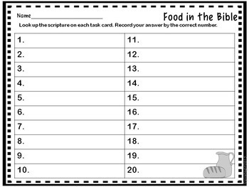 Bible Task Cards: Food in the Bible