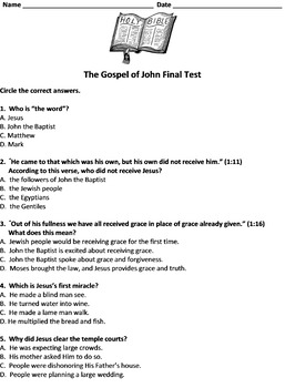 Book of john quiz with answers