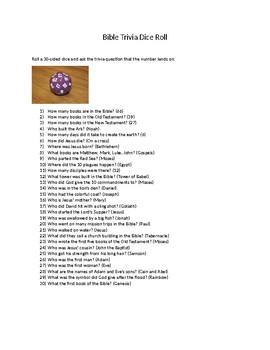 Bible Trivia Dice Roll