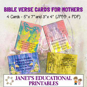 Bible Verse Cards For Mothers - Set of 4