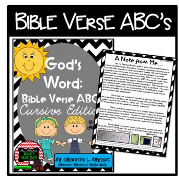 Bible Verse ABC's (God's Word Black Chevron, Cursive Edition)