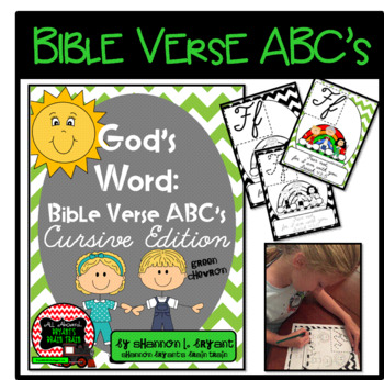 Bible Verse ABC's (God's Word Green Chevron, Cursive Edition)