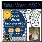 Bible Verse ABC's KJV (God's Word Nautical Blue Chevron, Manuscript Edition)