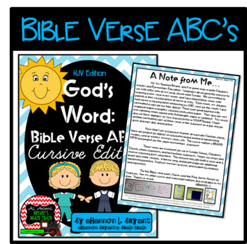 Bible Verse ABC's KJV (God's Word Teal Chevron, Cursive Edition)