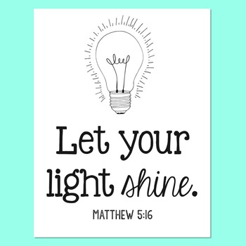 Bible Verse Poster, Let Your Light Shine, Encouragement Art