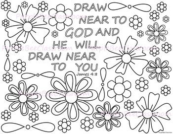 Bible Verse Coloring Page James 4 8 By The Purple Bee