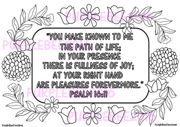 Bible Verse Coloring Page Psalm 16:11