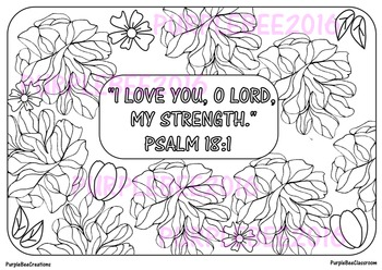 Bible Verse Coloring Page Psalm 18:1