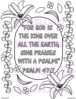 Bible Verse Coloring Page Psalm 47:7