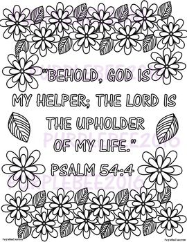 Bible Verse Coloring Page Psalm 54:4