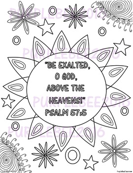 Bible Verse Coloring Page Psalm 57 5 By The Purple Bee
