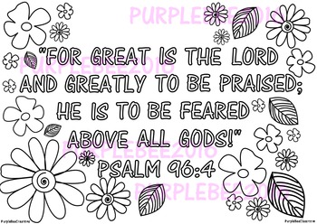 Bible Verse Coloring Page Psalm 96:4