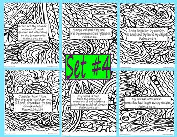Bible Verse Coloring Pages Doodle Set #4