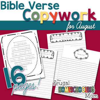 "Bible Verse Copywork Pages for August - ""Diligence""-Themed"