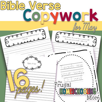 """Bible Verse Copywork Pages for May- """"Truth""""-Themed"""