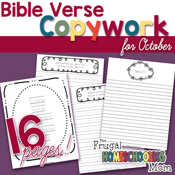 """Bible Verse Copywork Pages for October - """"Persecution""""-Themed"""