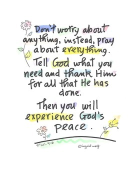 Bible Verse: Don't worry about anything..from Philippians 4 Christian / Catholic