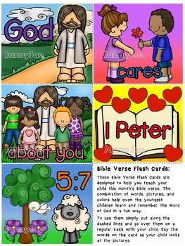 Bible Verse Flash cards- God cares about you 1 Peter 5:7