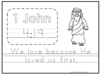 Bible Verse 1 John 4:19 Trace Worksheet. Preschool-KDG. Bible Stories