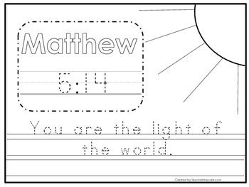 Bible Verse Matthew 5:14 Tracing Worksheet. Preschool-KDG. Bible Stories